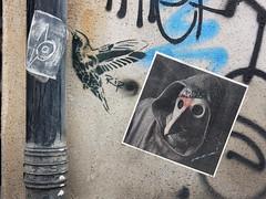 Bird/Pest (aestheticsofcrisis) Tags: street art urban intervention streetart urbanart guerillaart graffiti postgraffiti london uk shoreditch hackney bricklane rip ripstencils pasteup wheatpaste stencil pochoir schablone sticker