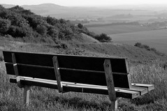 (GilholmBen) Tags: vista view bench blackandwhite sunset tranquil clouds peaceful field sky blue dunstable downs nature country countryside