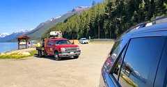 Moose Lake, BC, roadside reflections (+2) (peggyhr) Tags: peggyhr reflections mountains lake vehicles robsonprovincialpark imge1180a mooselake bc canada super~sixbronze☆stage1☆ infinitexposurel1 groupecharlie01 dslrautofocuslevel1 super~six☆stage2☆silver