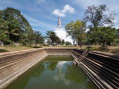 P2210741 (ernsttromp) Tags: srilanka olympus omd 918mmf456 mzuiko microfourthirds mirrorless mft m43 anuradhapura unesco stupa reservoir reflection tree park water buddhism 4x3 2018 em10 pond dagaba sacred temple buddhist religion