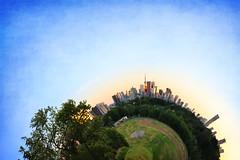 Summer Planetoid of Toronto (Katrin Ray) Tags: summerplanetoidoftoronto sunset june summer colours blue sky green trees torontoplanetofriverdalepark latourcn thirtysixviewsofcntower littleplanet photoshop planetization polarcoordinates digimagic painting digiart texture textures texturebyme vintagetexture gampisoftlight texturemix texturebydogmathankyou dreamscapesoftoronto toronto ontario canada katrinray canonphotography canon eos rebel t6i 750d