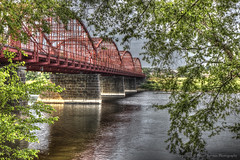 Historic Ouellette Bridge - Lowell National Park (Pearce Levrais Photography) Tags: company iron berlin ouellette lowell ma aiken street bridge canon hdr landscape steel river water tree plant stone old historic architecture engineering