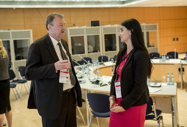 Sigurbergur Björnsson attending the Closed Ministerial in a discussion with Darja Kocjan