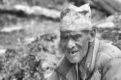 0774 Nepali Old Man (Hrvoje Simich - gaZZda) Tags: people man portrait monochrome blackwhite old hat nepal asia travel nikon nikond750 nikkor283003556 gazzda hrvojesimich