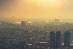 Seoul, South Korea 2018 (MonkeyTakingPics) Tags: summer city water sky sea skyline buildings mist haze daze sunset landscape cityscape high riser canon 7d seoul korea southkorea travel yellow ngc colors