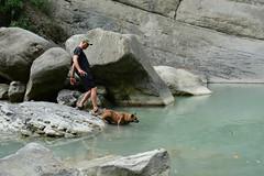 A Little Help (Bob Hawley) Tags: asia chiayicounty taiwan qingyunfalls nikond7100 nikon28105mmf3545afd waterfalls water rivers dogs pets taiwantugou formosanmountaindogs playing people men pushing