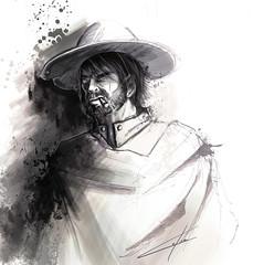 Western - Le mexicain (loomistudio) Tags: ink sketch sketchbook art artist drawing traditional pen pencil crayon croquis gouache loomistudio cowboy western