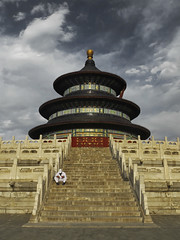 Temple of Heaven (RobertLx) Tags: asia china beijing temple templeofheaven religious sky dramatic stairs clouds architecture people man city unesco