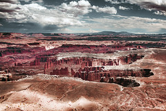 alien landscape (Sky Noir) Tags: desert landscape clouds utah west rock architecture sky road adventure red sandstone valley tower scenic drive natural park landmark canyon tourism trip terrain world national american ruins arches badlands ngc western