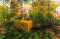 Cheese-flavored kiss (Ladmilla) Tags: country flower flowers cheese mice mouse time clock nature secondlife sl devinseye kiss kisses tree trees love lover lovers clocks