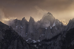 Whitney's Lair (santosh_shanmuga) Tags: mtwhitney mount whitney mountain sierra nevada eastern sierras sierranevada easternsierras evening light sunset dusk sun golden hour cloud fog shroud alpine nikon d810 105mm ca california inyo owens valley lonepine