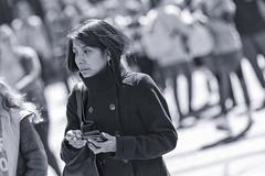 Watching (Frank Fullard) Tags: frankfullard fullard observer watching candid street portrait lady dublin monochrome blackandwhite blanc noir woman smoker bokeh