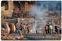 Spiritual Places - India - The Ganges (7) (The Spirit of the World ( On and Off)) Tags: india varanasi cremation smoke riverbank river sacred holy death ashes hindu hinduism religious crowd spiritual
