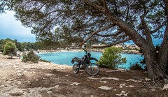 Yamaha, with a view. (CWhatPhotos) Tags: cwhatphotos beach sand photographs photograph pics pictures pic picture image images foto fotos photography artistic that have which contain olympus camera holiday holidays hols hol june 2018 ibizan ibiza san antonio bay june2018 yamaha trials cross motorbike bike motorcycle tree blue water offroad torrent torrentbeach