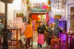 Catch up (JKmedia) Tags: spain 2018 marbella night oldtown civilization people chair stool guitar music doorway chat conversation boultonphotography