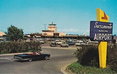 Sacramento Municipal Airport - Signage by Electrical Products Corporation - Circa 1958 (Note Epco sign label) (hmdavid) Tags: electricalproductscorporation epco sign california sacramento municipal airport neon arrow vintage postcard midcentury roadside advertising modern 1950s