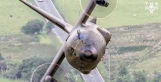 RAF C-130 Hercules head on