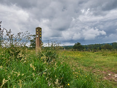 Rain in all directions (scottprice16) Tags: england lancashire edisford clitheroe riverribble ribblevalley ribbleway summer june cloud rain weather 2018 grass post marker footpath outdoors walking leisure sign canon canons95