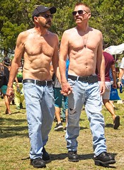 Men Holding Hands (LarryJay99 ) Tags: pridefest2018 2018 lakeworth florida festival shirtless jeans men male man guy guys dude dudes glasses bellybuttons bellies chests chesthair malecouple gayboyfriends