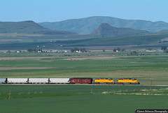 Cache Valley and the Bear River Gorge (jamesbelmont) Tags: railroad railway train unionpacific cachevalley richmond utah emd sd40n bearrivergorge