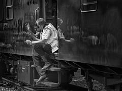 sign language (heinzkren) Tags: schwarzweis blackandwhite bw sw monochrome panasonic lumix people men train break pause waggon wagon spiegelung reflection street streetphotography