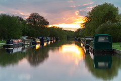 Woodlesford Lock Sunset (RichRobson) Tags: burningsky aireandcaldernavigation riveraire barges water boats leeds woodlesford canal sunset