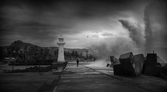 Angels Fall (Emerald Imaging Photography) Tags: wollongong wollongongharbour wollongonglighthouse swell sea ocean sydney nsw newsouthwales australia australian australianlandscape aussie southcoast south seascape sunrise sunset blackandwhite bw drama wave waves lighthouse cold winter clouds storm storms