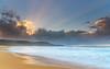 Sunbeams at the Beach - Seascape (Merrillie) Tags: daybreak crepuscularrays sunrise sunbeams nature water nsw rocky sea clouds newsouthwales rocks earlymorning morning landscape centralcoast ocean australia sunrays waterscape coastal outdoors sky seascape dawn coast cloudy waves killcarebeach killcare