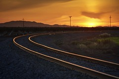 Golden track to golden sky (PeterThoeny) Tags: helm california rocket rocketlaunch dusk sunset sun sky grass cloud cloudy mountain field railroad track gold golden outdoor sony a6000 sel55210 1xp raw photomatix hdr qualityhdr qualityhdrphotography fav200