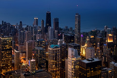 Blue Hour in the View Tower (Carl's Captures) Tags: chicagoillinois cityscape skyline bluehour twilight downtown theloop cityofchicago urban skyscrapers architecture vertical cookcounty lakemichigan thewindycity chitown skydeckchicago observationdeck willistower searstower vista aerial evening night landscape nikond7500 sigma18300 photoshopbyfehlfarben thanksbinexo