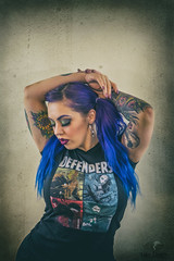 Defenders Fan (Luv Duck - Thanks for 13M Views!) Tags: select teresa bluehair purplehair defenders marvelfan marvel geekygirl modeling model lovely attractive girlswithtattoos tattoo tattoos alaskangirls anchoragegirls