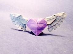 Angel Heart (Sasha CraftSpace) Tags: origami sashacraftspace heart angel beautiful wings purple heaven ring graduation love fold paper oneuncutsquare freedom colors obelisk process kami valentines