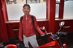 DSC_3543 Shoreditch London at the Bricklayer's Arms English Pub Rivington Street Eccentric Bartender Portrait with Beard and Handlebar Moustache with Goatee and his Special Red Bicycle Chopper (photographer695) Tags: bricklayers shoreditch london butchers arms english pub rivington street nglish eccentric bartender with special red bicycle chopper portrait beard handlebar moustache goatee his