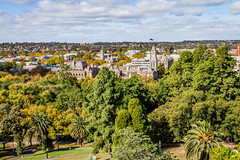 View of Bendigo towards Sacred Heart Cathedral from the tower in Rosalind Park, Bendigo, Victoria (golferdave2010) Tags: 2018 trees victoria 7d bendigo australia urbanlandscape architecture canon may autumn clouds
