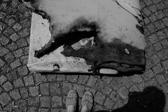 Burned Mattress (Natalie Squire) Tags: dsc3819 burned burnt mattress found shadow bw blackandwhite