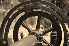 old textile machine (rafasmm) Tags: old textile łódź lodz poland polska europe city citycenter sepia machine circle nikonf90x nikkor 50 18 afd analog fujifilm superia 400 asa negativ film technic