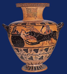 Heracles delivers three-headed Cerberus to king Eurystheus (petrus.agricola) Tags: etruscan art exhibition karlsruhe