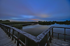 Nocturna Parque Nacional de Las Tablas de Daimiel (Peideluo) Tags: nature night longexposure water waterscape cloudscape landscape pasarelas clouds colors