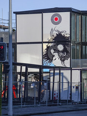 The Lady of Flowers and Feathers (Steve Taylor (Photography)) Tags: feathers trafficlights art graffiti mural streetart building scaffold scaffolding fence chainlink blue black red calm cool woman lady newzealand nz southisland canterbury christchurch cbd city flower wongi