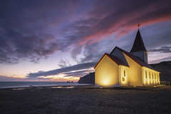 IMG_3206 (Francesco Russo 63) Tags: vik vikimyrdal church sunset sea oceanatlantic water rocks landscape mountains southiceland belltower idillic beautifulsite nobody nopeople clouds colored red sky travel traveldestinations traveldestination journey tranquilscene building icelandiclandscape iceland