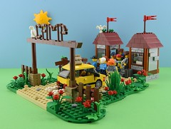 LEGO Summer camp part 1 : Arrival🚕 1/6 (Alex THELEGOFAN) Tags: lego legography minifigure minifigures minifig minifigurine minifigs minifigurines camp camping summer car people holiday holidays entrance tree vegetation brown green tan bush flowers kids wood vacation