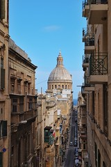 Malta Streets (Douguerreotype) Tags: cathedral church city street balcony buildings malta architecture dome valletta urban
