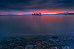 sunset 7626 (junjiaoyama) Tags: japan sunset bluehour sky light cloud weather landscape blue pink orange yellow contrast color bright lake island water nature spring rock calm underwater
