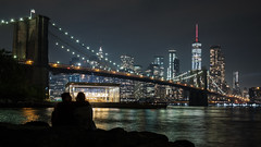 Evening at the Bridge (GeraldGrote) Tags: brooklyn night usa romance manhattan river couple newyork water dawn skyline city bridge newyorkcity us
