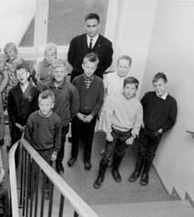 At school (theirhistory) Tags: children kids boy girl school pupils group teacher jumper trousers jacket wellies rubber boots2
