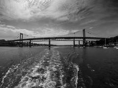G0032636-2 (Marklucylockett) Tags: tamarbridge devon cornwall marklucylockett 2018 june boat blackandwhite gopro goprohero3 rivertamar bridge
