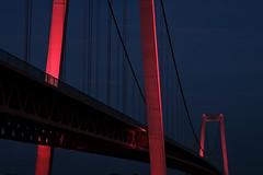 18063543 (felipe bosolito) Tags: bridge emmerich rhine river night red light suspensionbridge steel fuji xpro2 xf1655 classicchrome blue bluehour