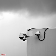 Big Brother (MBates Foto) Tags: availablelight blackandwhite building cameras clouds daylight existinglight monochrome nikkorlens nikon nikond810 nikonfx outdoors surveillance spokane washington unitedstates 99201