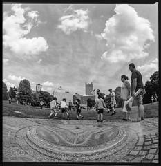 Fort Pitt (joespix) Tags: pittsburghpa pittsburgh joeindovina kiev kiev88cm arsat30mm fujiacros blackandwhite thepoint pointpark fisheye mediumformat manilovefilm filmisnotdead film 120film 6x6 squareformat clouds sky skyline threeriversartsfestival