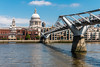 St Paul's Cathedral and the London Millennium Footbridge (Keith in Exeter) Tags: london stpauls cathedral dome river thames water bridge millennium footbridge suspension iconic tourist attraction city capital cityscape landscape